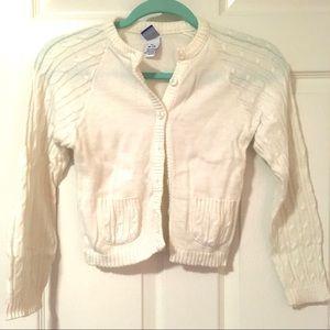 Girls Button Up White Cardigan Sweater Girls M